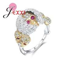 JEXXI Novel Punk Style Skull Head Finger Ring 925 Sterling Silver with Red and White Crystl for Women Jewelry