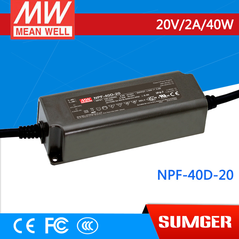 1MEAN WELL original NPF-40D-20 20V 2A meanwell NPF-40D 20V 40W Single Output LED Switching Power Supply<br>