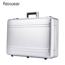 feixueer Luxury Aluminum Magnesium Alloy Toolbox Full Metal Hairdressing Tool Box Medical Equipment Case Silver Briefcase F10021(China)