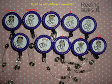 NURSE RN CNA PERSONALIZED Name Retractable Work ID Badge Holder Lanyard Clip Flat Cap (Reeling Brand)  10pcs/lot