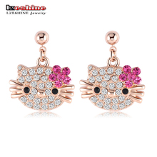 LZESHINE Lovely Cat Flower Stud Earring for Girls Rose Gold Color Austrian Crystal Kitten Earings SWA Elements Brinco ER0109-A