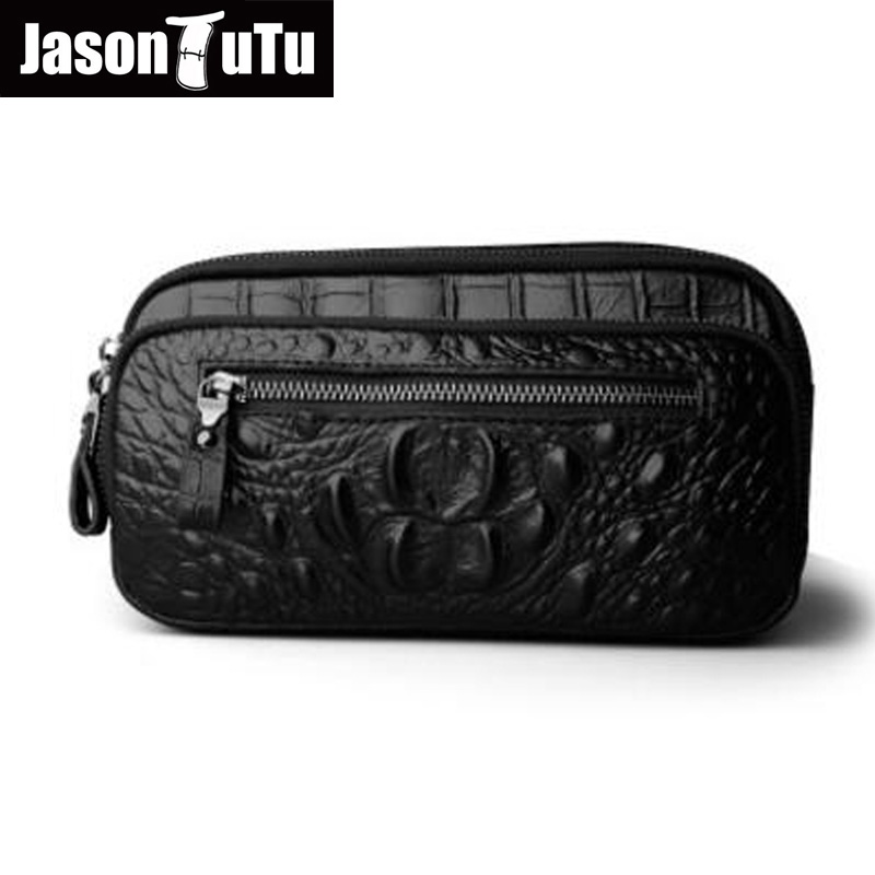 JASON TUTU Men Messenger Bag Vintage Genuine Leather Shoulder Bag Alligator waist bag Classic black handbag HN73<br>