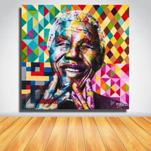QK ARTFrameless Pictures Colorful Mandela Portrait Oil Painting On Canvas Wall Paintings Wall Pictures for Living Room Home Deco(China)