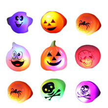 TAOS 10PCS Halloween Props Decoration Kids Cartoon LED Flashing Light Up Glowing Finger Rings Electronic Christmas Halloween Fun(China)