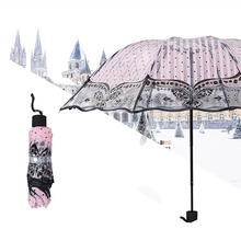 Princess Rain Umbrella Woman 3 Fold Umbrellas Kids Lady Pink Flower Plastic Umbrella Small Sunshade Transparent Clear Parapluie(China)