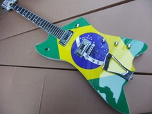 Wholesale Customize Explorer Electric Guitar With Brazilian Flag In Green 110302(China)