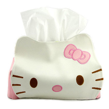 Cute Hello Kitty Tissue Kleenex Box Cover Holder,PU Length hello kitty Pumping Tissue/napkin Case,home & cars tissue box Pouch
