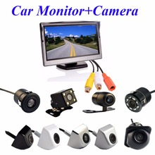 "Viecar 2In1 Car Parking System Kit 5"" Desktop Bracket TFT LCD Color Monitor 5 Inch HD Display Screen+Rear View Camera Waterproof(China)"