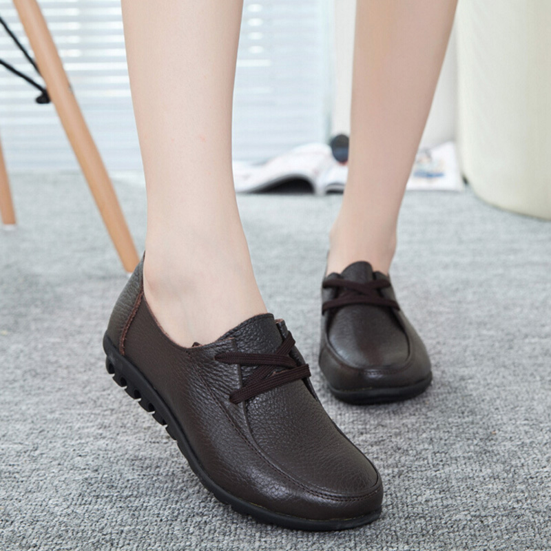 High quality Mother Shoes Genuine Leather Women Flats Shoes Comfort Soft Rubber Women Loafer Spring Female Zapatos size 41<br><br>Aliexpress