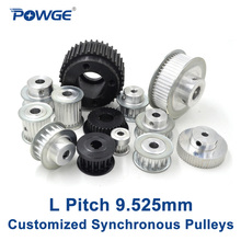 POWGE Inch Trapezoid L Synchronous pulley pitch 9.525mm Gear wheel Manufacture Customizing all kinds of L Timing pulley Belt(China)
