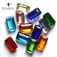 8x14mm fancy cube faceted glass crystal no hole stone glue-on necklace accessories for fashion DIY(China)