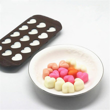 Selling 1 pc 15 Holes Heart Shape Chocolate Mold DIY Silicone Cake Decoration Mold Jelly Ice Baking Mould Love