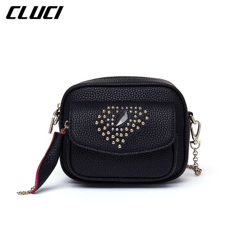 CLUCI Women Shoulder Bags Fashion PU Black Rivets Luxury Flap Soft Mini Crossbody Bags Messenger For Lady Evening/ Party/Dating<br>