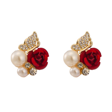 1pair Red Rose Flower Imitation Pearl Stud Earring For Women Girls Rhinestones Crystal Beads Gold Color Metal Earrings