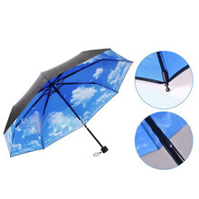 2017 Hot Summer suppliers  Anti-uv Sun Protection Umbrella Blue Sky 3 Folding Gift Parasols #0724 C