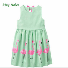 Stay Naive Girl Clothing Cartoon Print Bowknot Children's Clothing 2017 New Girls Dress Up Children