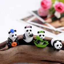 4Pcs Hot Sale Mini Cartoon Resin Panda Figurine Resin Craft Miniature Garden Decor Resin cabochons terrarium Accessories