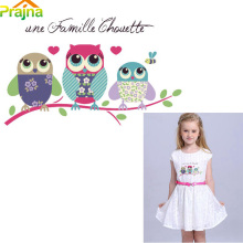 Prajna Owl Patch Iron on Transfer Heat Press Transfers Stickers Applique Kids Cartoon Patches For Clothes Shirt Decor Washable(China)