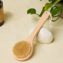 Body Brush Long Handle Exfoliating Bath Shower Natural Bristle Brush Shower Brush For Back Body Scrubber Device For Body Wash