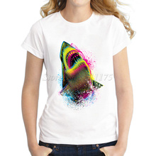 2015 Ladies Fashion Colorful Shark Design T shirt Novelty Tops Lady Customize White Short Sleeve Tees(China)