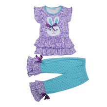 Easter Day Outfit New Arrival Spring Girls Clothing Set Bunny Pattern Top Polka Dot Ruffle Pant Kids Boutique Clothes E009(China)