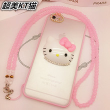 fashion Hello Kitty phone case For iPhone 6 6S 6 Plus 6S Plus 5 5S SE case Bling Rhinestone With chain shockproof Phone cover
