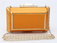 Acrylic Pure Color Evening Bag Metal Frame Clutch Purse Crossbody