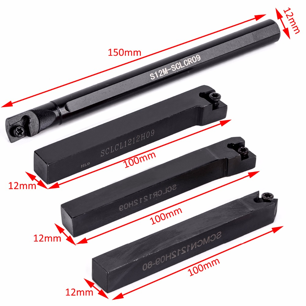 10pcs Carbide Inserts + S12M-SCLCR09/SCLCR1212H09/SCLCL1212H09/ SCMCN1212H09 Tool Holder with 4pcs T15 Wrenches<br>