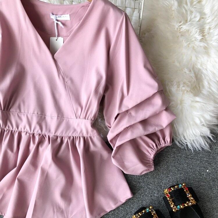 2109 Spring Women V-neck Puff Sleeves Blouse Slim Tunic Tops Retro Vintage Pullovers Busos Para Mujer Kimonos 83 Online shopping Bangladesh
