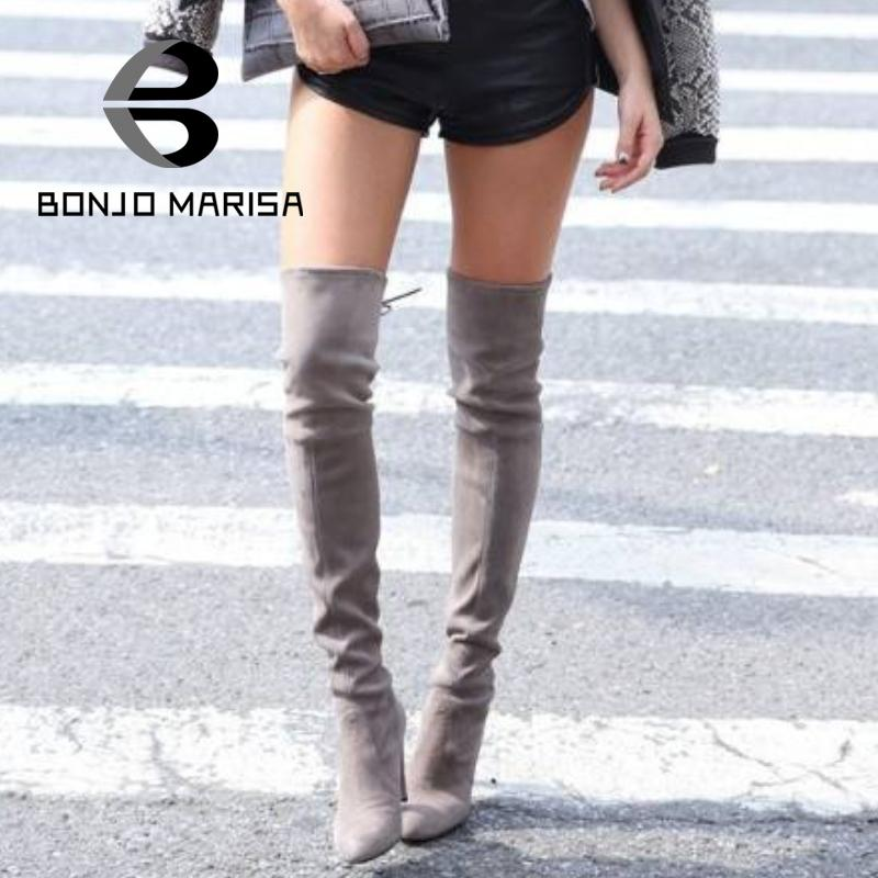 BONJOMARISA  Big Size Stretch Faux Suede Slim Thigh High Boots For Women Sexy Fashion Over The Knee Boots High Heels Woman Shoes<br><br>Aliexpress
