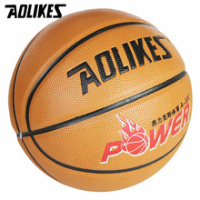 Wearable Non-slip Size7 New PU Leather Basketball AOLIKES Brand New Match Ball Training Equipment Free With Net Bag and Pins(China)