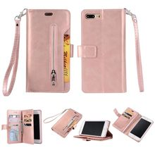 Luxury PU Leather Zipper Wallet Case For iPhone 7 Plus/8 Plus Flip Cover Strap Magnetic Closure Back Cover Phone Case Handbag