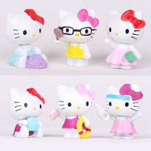 6pcs/lot Lovely Hello Kitty Cat Miniature Figurines Toys Model Kids Toys Japanese Anime Children Action Figure Toys