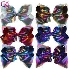 "6 Pieces/lot 7"" Rainbow Leather Hair Bows With Clips For Kids Girls Handmade Large Colourful Bows Hairgrips Hair Accessories(China)"