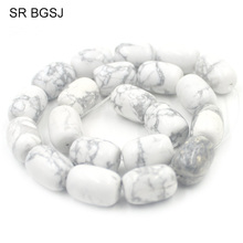"Free Shipping 13X18mm Natural Gems Stone Column Beads Jewelry Making DIY White Turquoises Howlite Beads 15""(China)"