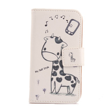 LINGWUZHE Cute PU Leather Cell Phone Case With Card Slot Wallet Cover For MEDION LIFE E4504 MD 99537 4.5''