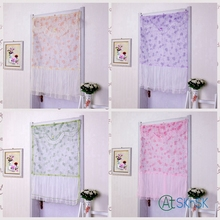 2pcs/lot Pink purple orange green for choice rectangle lace fabric bedroom decoration high quality pretty lace curtain 110*90cm