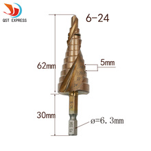 "New HSS-Co Cobalt Spiral Grooved Step Drill Bits 1/4"" Hex Shank Wood Metal Cone Drilling 6-24mm Hole Saw M35 Multi Tool"