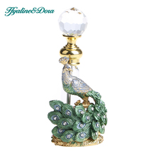 Peacock Design 3.6ml Empty Perfume Bottle Retro Glass and Matel Refillable Container Wedding Decoration(China)