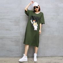 Plus Size 2017 a fat mm large size ladies' super long lazy leisure and over-the-knee half sleeve T shirt dress dresses vestidos