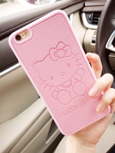 New Cute Minnie Mickey Hello kitty Leather case for iphone 6 6s plus 7 7plus Lovers TPU silicone phone case back cover capa