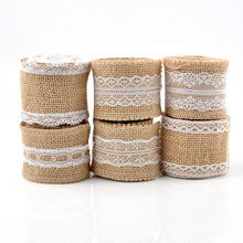 2M*5cm Natural Jute Burlap Hessian Ribbon with Lace Trims Tape Rustic Wedding Decor cake topper decoration mariage Lace Ribbon