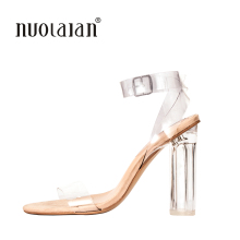 2018 Newest Women Pumps Celebrity Wearing Simple Style PVC Clear Transparent Strappy Buckle Sandals High Heels Shoes Woman(China)