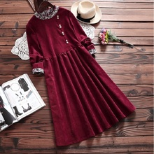New Spring Autumn Women Cute Dress Round Neck Corduroy Patchwork Vintage Femininos Vestidos Green Wine Red Long Sleeve Dresses(China)