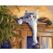 DIY oil painting by numbers decorative canvas brush wall painting paint coloring by number handwork acrylic drawing cats E403
