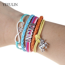 Trendy Infinity Love UNICORN Silver Color horse Charms Bracelets For Women Girls Bangles jewelry Birthday Gift(China)