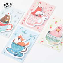12 sets/1 lot Hand painted original cup Memo Pad Sticky Notes Escolar Papelaria School Supply Bookmark Post it Label(China)