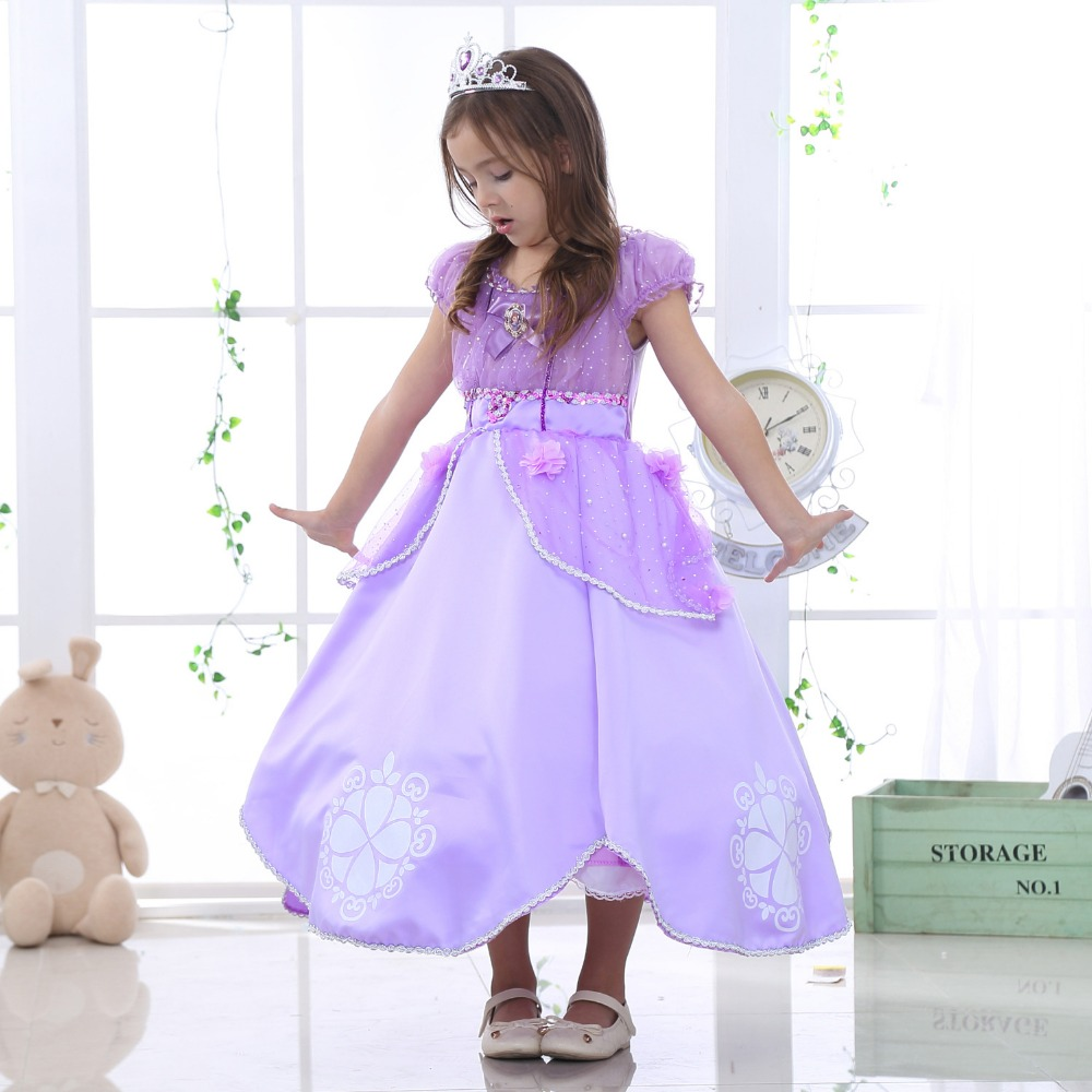 Girl childrens clothes KIds Christmas dresses Princess Sofia for girls Baby Cotton lining children clothing Cartoon costume<br>