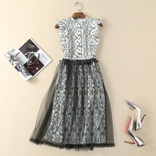 pleated bib ruffles sleevess empire waist a line midi dress black and white floral print disco paillettes black mesh lace dress(China)