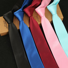 High Quality Solid Color Striped Ties for Men Slim Necktie Wholesale 6cm Narrow Skinny Tie 2017 Wedding Black Red Designer
